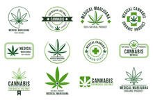 Cannabis Label. Medical Marijuana Therapy, Legal Hemp Plant And Drug Plants. Smoking Weed Badges Isolated Vector Set
