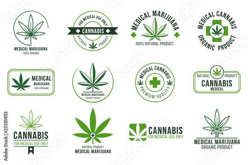 Fototapeta Cannabis label. Medical marijuana therapy, legal hemp plant and drug plants. Smoking weed badges isolated vector set obraz
