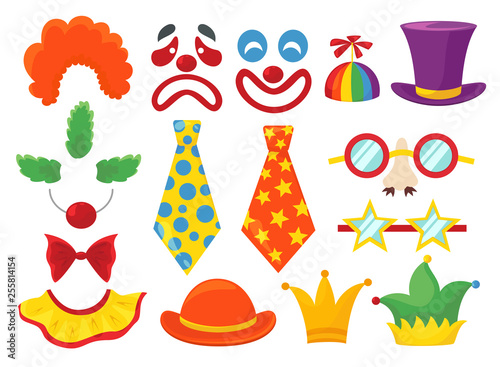 Photo Clown props set, funny colorful booth elements