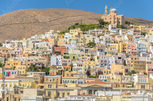 Photo  View of Ermoupoli Syros, capital of Cyclades Greece