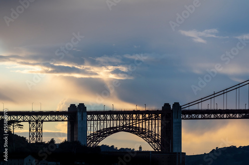 Fotografie, Tablou  Clouds behind the Golden Gate Bridge at sunset.