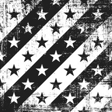 Grunge Stripe Pattern With Stars. Square Black And White Backdrop.