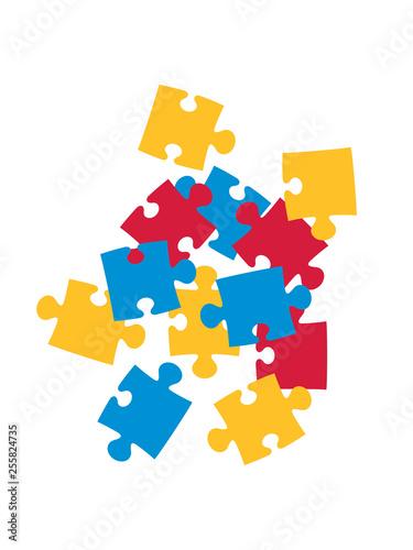 Fotografía  viele teile haufen bunt puzzle teil puzzlespiel puzzleteil puzzlestück puzzeln f