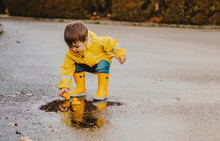Cute Playful Little Baby Boy In Bright Yellow Raincoat And Rubber Boots Playing With Rubber Ducks In Small Puddle At Rainy Spring Day On Wet Street Road. Seasonal Weather Walking Concept