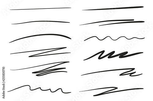 Fototapeta Hand drawn underlines on white. Abstract backgrounds with array of lines. Stroke chaotic patterns. Black and white illustration. Sketchy elements obraz na płótnie