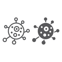 Virus Line And Glyph Icon, Bac...