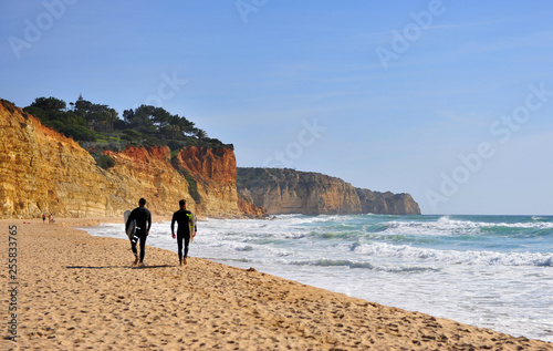 Poster Maroc Two men going for surfing, Portugal