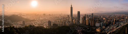 Fotografía  Aerial drone panorama photo - Sunset over the city of Taipei, Taiwan