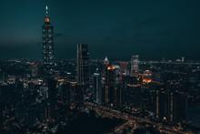 Aerial Drone Photo - City Of Taipei, Taiwan At Night