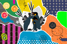 Creative Title On The Theme Of Collage Doodle Art With Various Shapes And Textures, Fruits, Berries, Acai, King Penguins. Collage Technology. Illustration - Vector Graphics