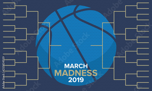 Fotografía  March Madness basketball vector logo and background