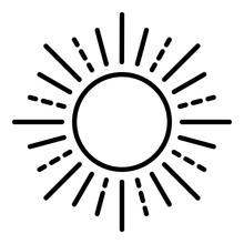 Summer Sun Icon. Outline Summer Sun Vector Icon For Web Design Isolated On White Background