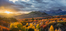 Streaming Sun  Autumn Sunrise - Dallas Divide Near Ridgway Colorado