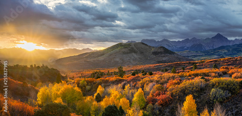 Photo Streaming Sun  Autumn Sunrise - Dallas Divide near Ridgway Colorado