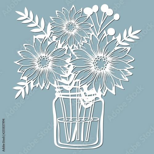 Chrysanthemum In A Jar Of Water Vector Illustration Paper Flower