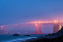 Golden Gate Bridge At Foggy Ni...