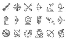 Archery Icons Set. Outline Set Of Archery Vector Icons For Web Design Isolated On White Background