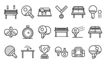 Table Tennis Icons Set. Outline Set Of Table Tennis Vector Icons For Web Design Isolated On White Background