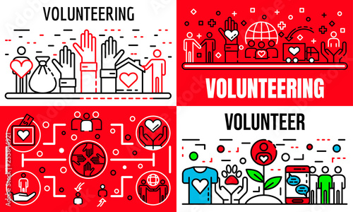 Volunteering banner set Canvas Print