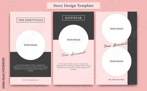 Fotografie, Obraz  Cute Pink social media story design template set for fashion, cosmetic, event, o