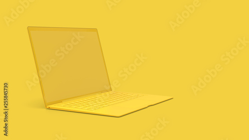 Foto  Laptop background with blank screen yellow color