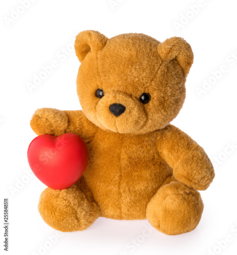 Teddy bear with heart love concept on white background clipping path #255848511