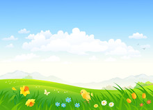 Vector Cartoon Drawing Of A Green Country Scenery With A Chicken And Spring Flowers
