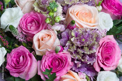 Aluminium Prints Dahlia Bouquet of roses with white lisianthus, pink veronica spicata or garden speedwell and green eucalyptus, springtime concept, selective focus