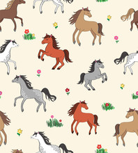 Seamless Repeat Pattern With Happy Multi-colored Horses Among Flowers