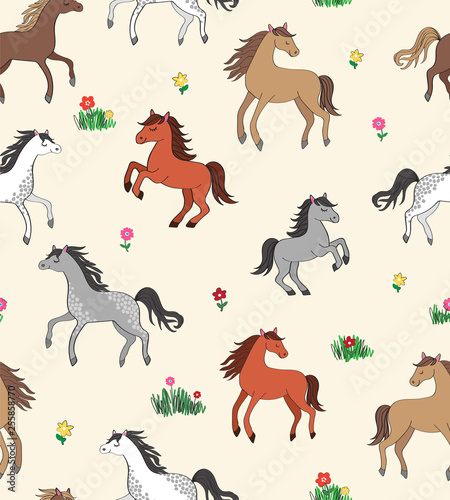 Fototapeta Seamless repeat pattern with happy multi-colored horses among flowers obraz