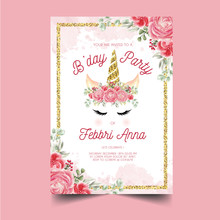 Sweet Birthday Invitation Template With Watercolor Rose Crown Unicorns