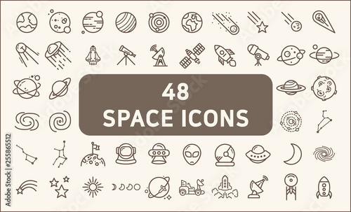 Tablou Canvas Set of 48 space and planet Vector Line Icons, thin line style