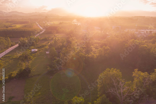 countryside at sunrise aerial view #255865535