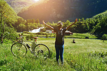 People Ride Bicycle On Mountain Road At Flam Norway