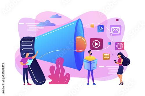 Fotografía  Push advertising concept vector illustration.