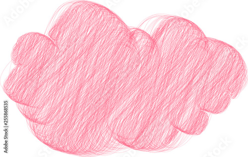 Garden Poster Colored pencil style Colorful Rough sketch of a cute cloud type frame
