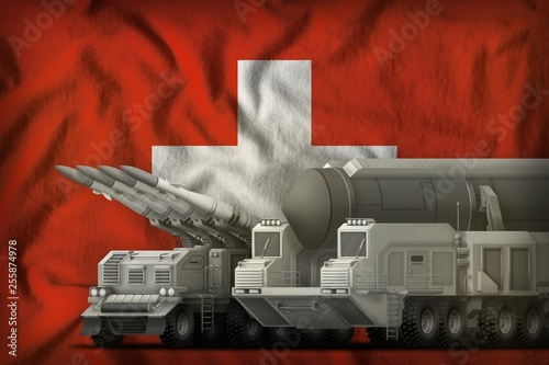 Fotografía  Switzerland rocket troops concept on the national flag background