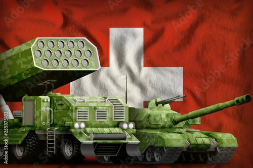 Poster Militaire Switzerland heavy military armored vehicles concept on the national flag background. 3d Illustration