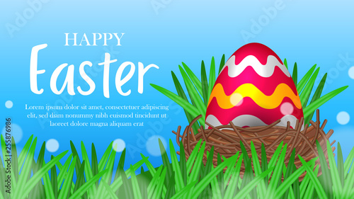 Photo Stands Magic world big egg red decorative on the green grass with blue sky background for easter event party