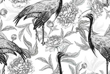 Floral Seamless Pattern With Cranes And Flowers Peonies. Black And White.