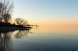 Kalter Sonnenuntergang am See