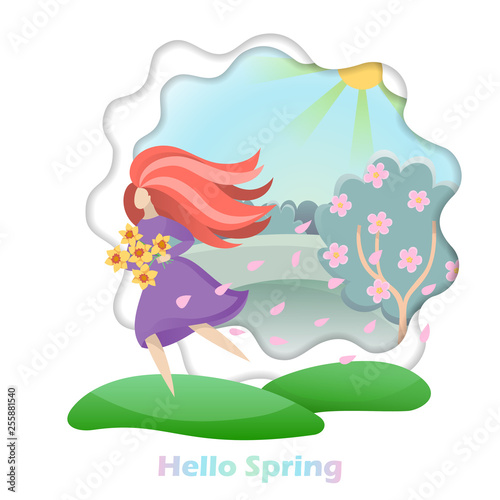 Fotografie, Obraz  Easter Vector Illustration with Girl and Countryside