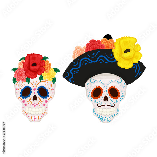 Cartoon Mexican sugar skull illustration for Day of the Dead Fototapete