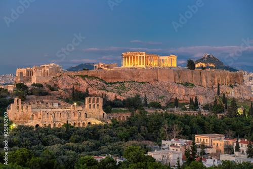 Canvas Prints Athens The Acropolis of Athens, with the Parthenon Temple at night, Athens, Greece.