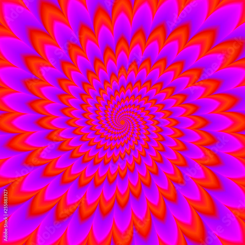 Red flower blossom. Optical expansion illusion. Wallpaper Mural