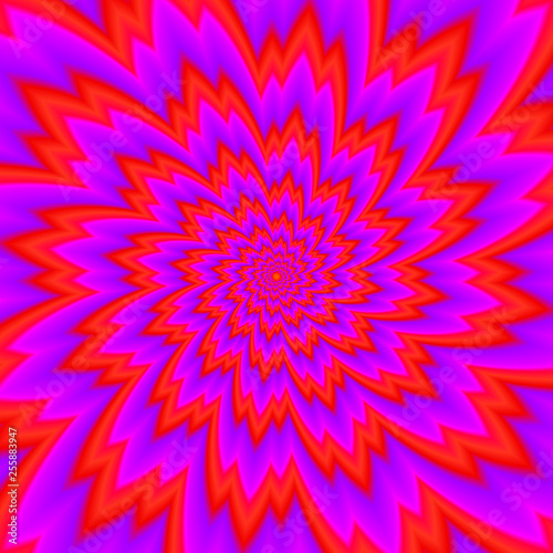 Cuadros en Lienzo Red flower blossom. Optical expansion illusion.