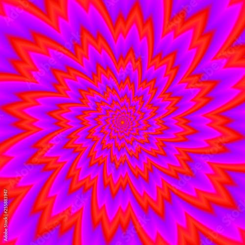 Valokuvatapetti Red flower blossom. Optical expansion illusion.