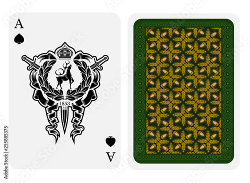 Photo Ace of spades face with deer in center of wreath with crossed swords and back wi