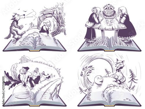 fototapeta na ścianę Russian folk tales set open book illustration