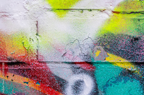 Graffiti painted on a brick wall texture. - 255893388